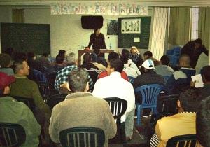 En uno de los talleres con los internos del Penal de Lurigancho. Julio 2013